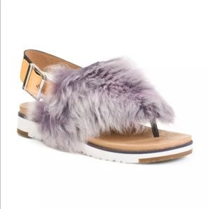 UGG Holly Lamb Fur Fluffy Leather Sandal 7 NEW